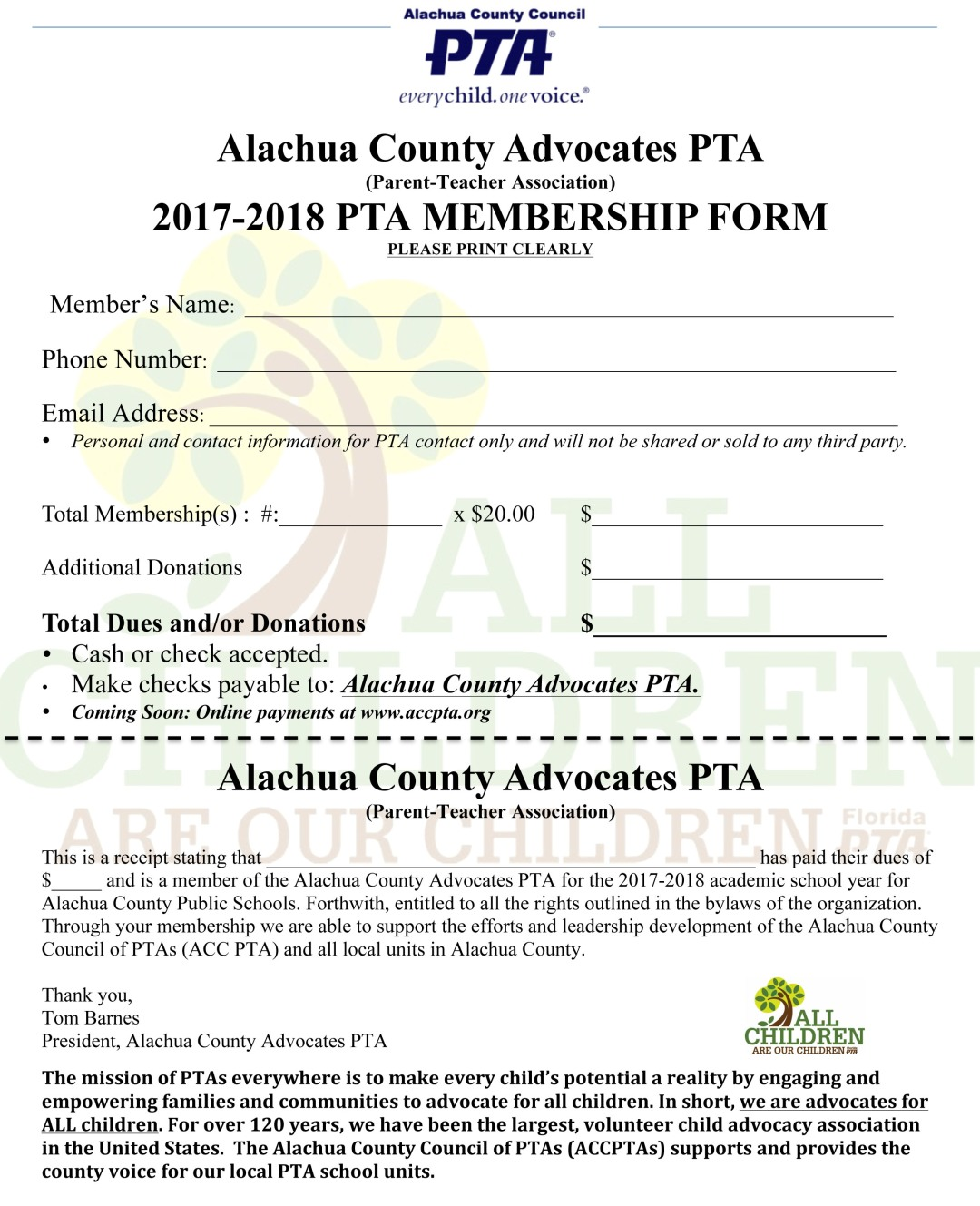 Alachua County Advocates PTA MEMBERSHIP FORM